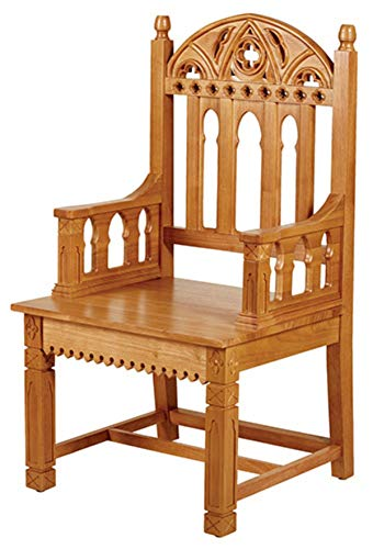 Robert Smith Eastern Maple Wood Gothic Celebrant Bishop Chair, 48 Inch