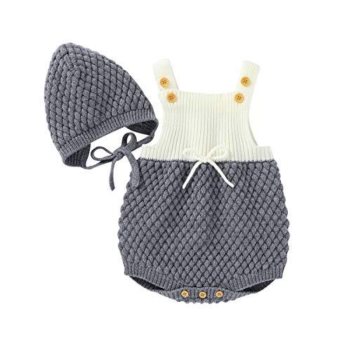 Geagodelia Conjunto de 2 piezas de pelele de punto para bebé + gorro de bebé de invierno gris 3-6 Meses