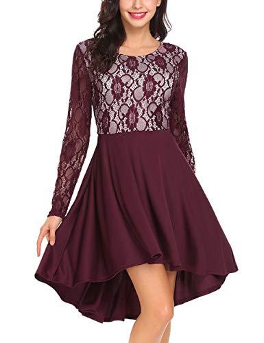Meaneor Damen Elegant Kleid mit Spitzen Langarm Trompetenärmeln Spitzenkleid Knielang Asymmetrie Cocktailkleid Rundhals Loose Fit Casual Sexy Partykleid (Weinrot2, M)