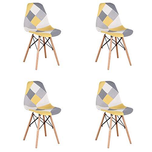 GroBKau 4er Set Modernen Esszimmerstühlen, Patchwork-Stoff, Gepolsterter Seitenstuhl mit Holzsockel, ideal für Wohnzimmer, Esszimmer, Café, Warteraum usw. Gelb