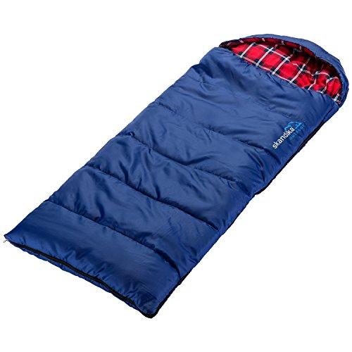 skandika Dundee Junior Kinderschlafsack | Outdoor Camping Schlafsack für Kinder, Flanell-Innenfutter aus Baumwolle, kuschelig weich, wasserabweisend, Komfortbereich von 13 bis 3°C, 175 x 70 cm (blau)