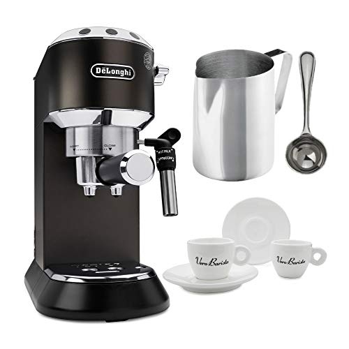 Delonghi EC685BK Dedica Deluxe Espresso (Black) with Frothing Pitcher, Coffee Measure and Accessory Bundle (4 Items)