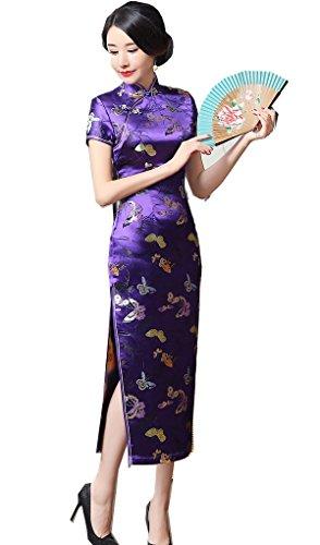 Shanghai Story Chinese Traditional Dress Long Cheongsam China Qipao 4 Purple