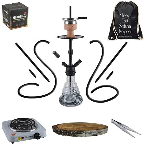 Amy Deluxe Shisha Set komplett 2 Anschlüsse 2 Schläuche Wasserpfeife schwarz (Black Powder) 50cm Kohle Anzünder Kamin Tabakkopf Birkenholz Tasche