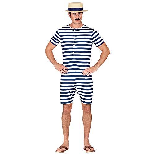 Widmann 03251 Kostüm Retro Badeanzug, Herren, Blau