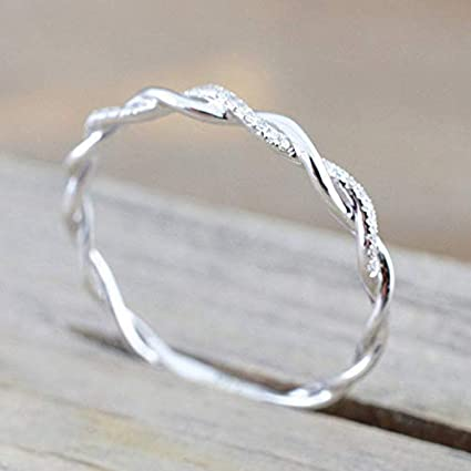 8 Rnydrny Sterling Silver Stack Twisted Ring Twist Ring Stackable Diamond Rings Wedding Party Women Fashion Ring