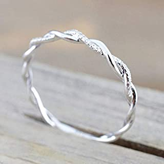 Fashion Ring Sterling Silver Plated Stack Twisted Ring Twist Ring Stackable Diamond Rings for Women Girls (8)