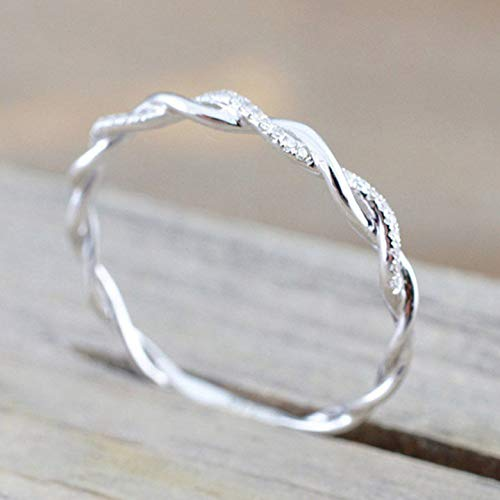 Rnydrny Sterling Silver Stack Twisted Ring Twist Ring Stackable Diamond Rings Wedding Party Women Fashion Ring (6)