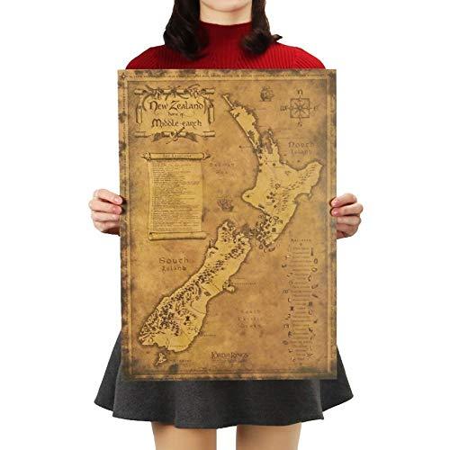Poster-Mysterieuze Oude Kaart van Nieuw-Zeeland 51.5X36Cm Muur Kaart van Jongen/Meisje/Kinderkamer, Kinderkamer/Woonkamer/Muur Kaart Poster