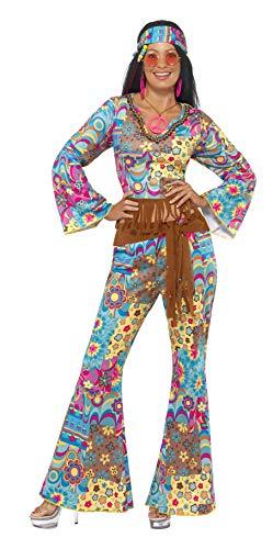 Smiffys-39493S Disfraz de Flower Power hippy, con top, pantalones, banda para el pelo y cinturón, Multicolor, S - EU Tamaño 36-38 (Smiffy