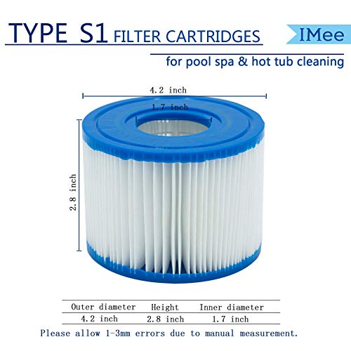 Pool Filters Cartridges Type S1 Compatible for Intex PureSpa, Hot Tub Filter Cartridge Swimming Pool Spa Filter Replacement for Intex 29001E, 4Pcs