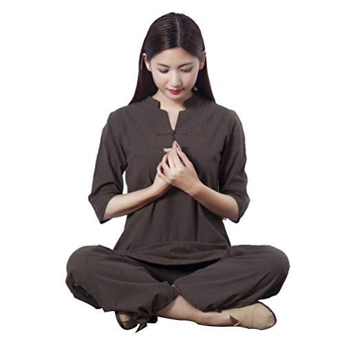 XGYUII Tai Chi Uniform Kleidung Unisex Chinesische traditionelle Baumwolle Seide Stretch Taichi Anzug Tai Chi Übung Taekwondo Training Wing Chun Zen Meditation Kleidung,Braun,XXL
