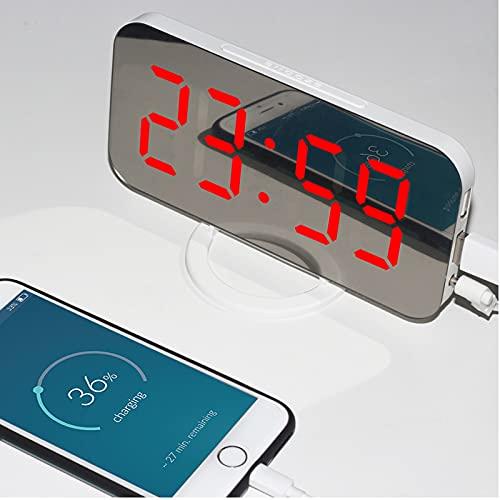 QBOHAN Elektronischer Spiegelwecker, digitaler LED-Wecker, dimmbarer Schlummerwecker mit 2 USB-Ladeanschlüssen (weiß -Rot)