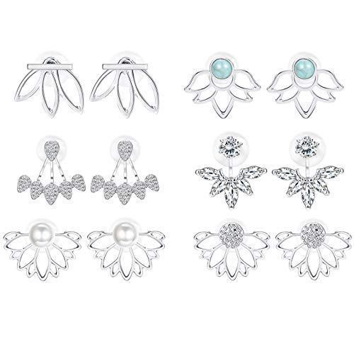 Adramata 6 Pairs Lotus Flower Earrings for Women Girls Simple Chic Fashion Stud Earrings,S