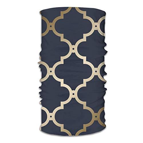 KCOUU Cagoule de sport Maroc avec treillis bleu marine et doré - Super doux et extensible - Coupe-vent