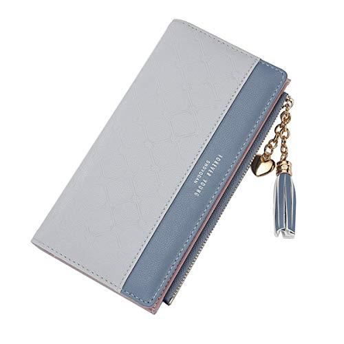 JOSEKO Damen Geldbeutel, Lange Brieftasche Quaste PU Leder Portemonnaie Multi Slots Schlanke Kartenhalter Geldbörse Für Frauen