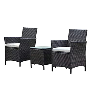 VIVA HOME Patio Rattan Outdoor Garden Furniture Set of 3PCS, Wicker Chairs With Table