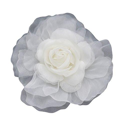 LIDA LYDI - Spilla a forma di fiore in tessuto di organza, colore: Avorio