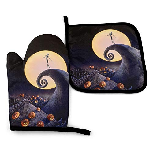 The Nightmare Before Christmas Oven Mitts and Pot Holders Sets,Heat Resistant Non-Slip Cooking Gloves with Cotton Lining for Kitchen Baking Grilling BBQ