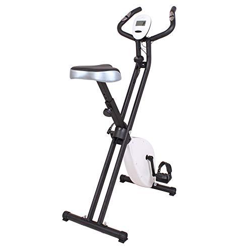 HLEZ Bicicleta Estática Plegable, Asiento Cómodo Pulsometro Sistema de Transmisión por Correa y Motor Silencioso Plegable Unisex