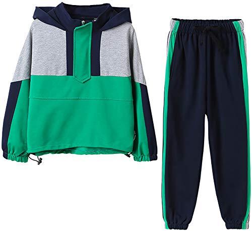 Las niñas se adaptan a los niños de Manga Larga y de Manga Larga de los niños y el Traje de Dos Piezas de los Deportes Infantiles (Verde) Green- 130cm