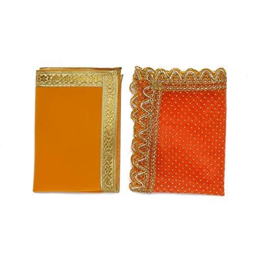 Juego de 2 manteles decorativos para decoración de Pooja, color naranja