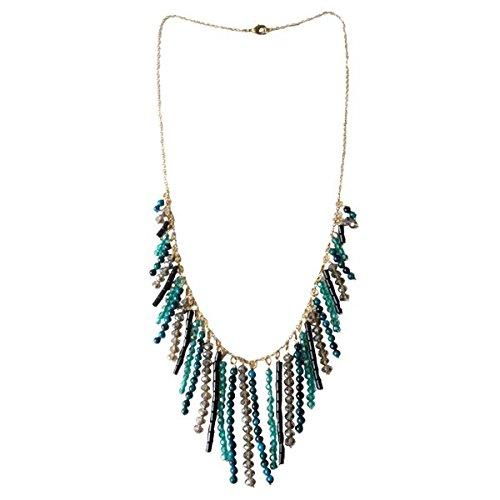 CHICNET Designer ketting staafjes turquoise zwart goud brass stenen glazen kristallen 72 cm nikkelvrij sieraden