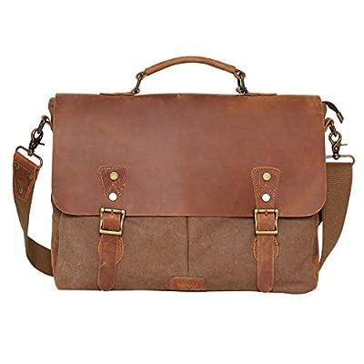 Sac à bandoulière vintage en toile Cuir véritable sacoche pour ordinateur portable Sac pour homme et femme