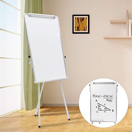 DHOUTDOORS Flipchart Whiteboard mit Ständer Magnetisch Weiß für Büro Verstellbar 100 x 65cm mit Alurahmen Klappbar