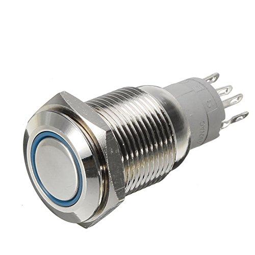 Bazaar K16-A 12v conduit lumineux angle yeux verrouillage type bague bouton bouton métallique 5 broches