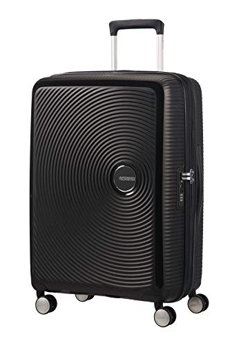 AMERICAN TOURISTER Soundbox - Spinner M Espandibile Bagaglio a Mano, Spinner M (67 cm - 81 L), Nero (Bass Black)
