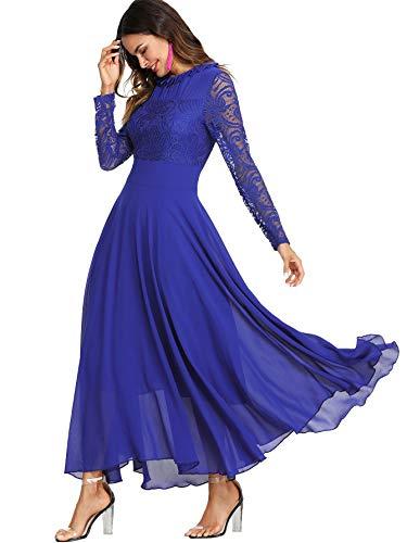DIDK Damen Maxikleider Langarm Spitzen Plissee Brautjungfernkleid Kleider A Linie Kleid Stehkragen Ballonkleid Hoher Taille-Blau-M
