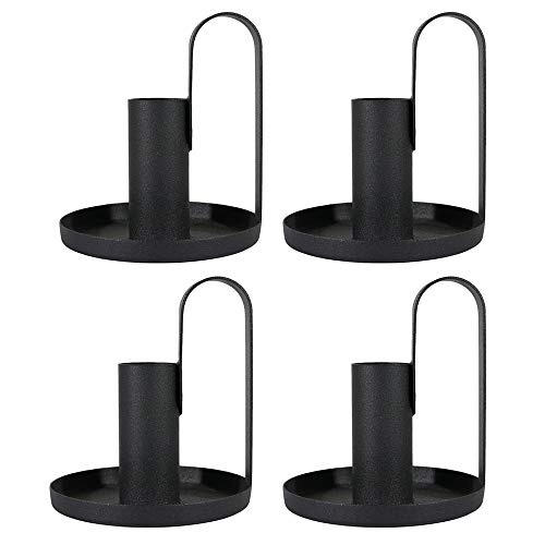 PTINBG Candle Holder, Candlestick Holders Retro Wrought Iron Taper Candle Holders for Wedding, Dinning, Party Decorative (Black, 4)
