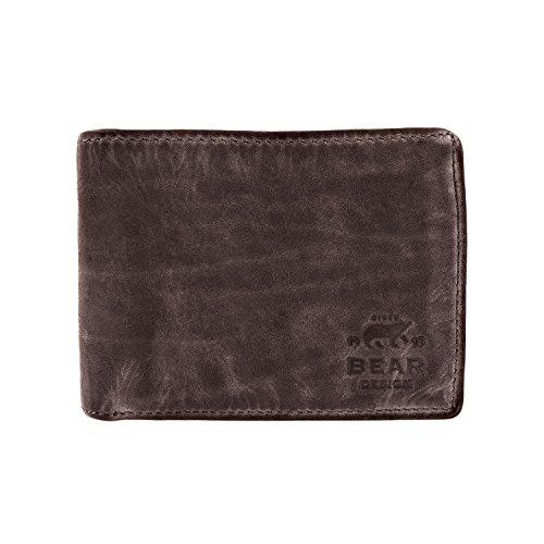 Bear Design heren portemonnee, portemonnee met visitekaartjes creditcardvakken CL7254 gewassen leer vintage look (11/9/3 cm)