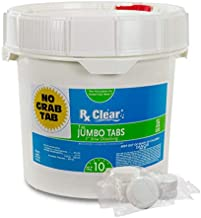 Rx Clear 3-Inch Water Soluble Chlorine Tabs | 10 Pound Bucket | Use As Bactericide, Algaecide Disinfectant in Swimming Pools Spas | No Need to Take Out of Wrapper