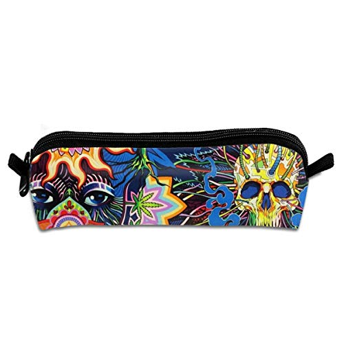 Psychedelic Pot Leaf Skull Loom Showroom Pencil Case Pen Bag for Pens Pencils Highlighters Gel Pen Markers and Other School Supplies