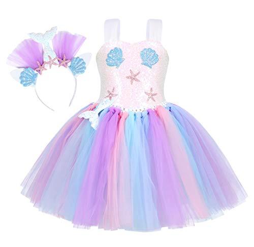 AmzBarley Vestito Sirena Ragazza Tutu Abito Bambina Compleanno Partito Regalo Vestiti Danza Festa Carnevale Halloween Sera Abiti Bianco 10-12 Anni