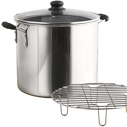 IMUSA USA Stainless Steel Tamale/Seafood Steamer with Glass Lid 8-Quart, Silver