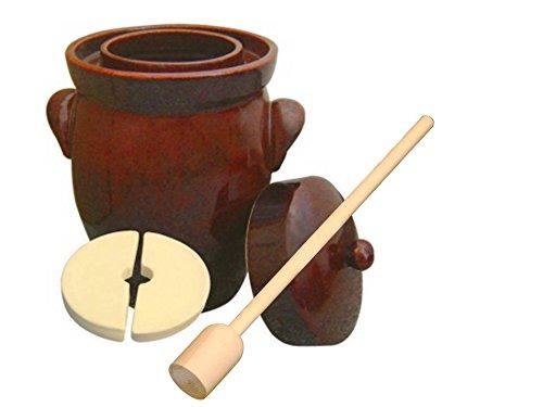5L (1.3 Gal) K&K Keramik German Made Fermenting Crock Pot, Kerazo F2, Plus Beechwood Tamper