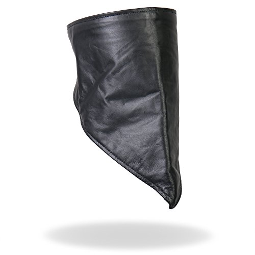 Hot Leathers Leather Neck Warmer with Fleece Lining (Black)