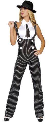 Roma Costume 2 Piece Gangsta Mama Costume, Black/White, Medium/Large