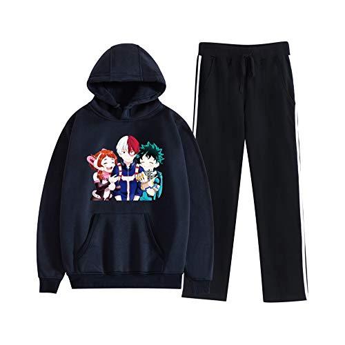 MLX-BUMU My Hero Academia Felpe con Cappuccio 2 Pezzi Set Streetwear Sport Style Felpe con Cappuccio da Uomo/Donna + Pantaloni della Tuta Set Felpa,XXXL