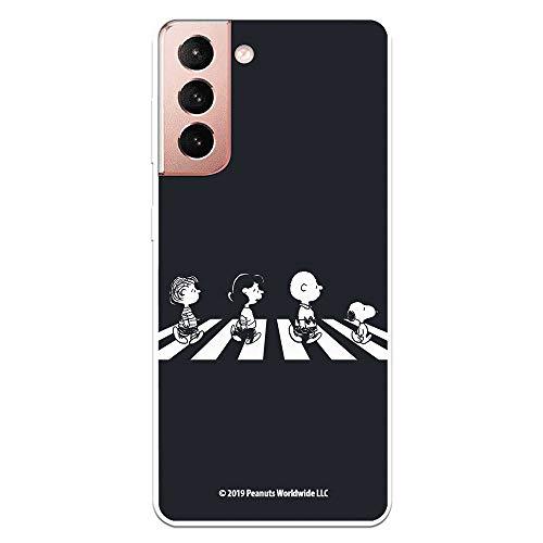 Funda para Samsung Galaxy S21 Oficial de Snoopy Personajes Beatles. Protege tu móvil con la Carcasa para Samsung de Silicona Oficial de Peanuts.