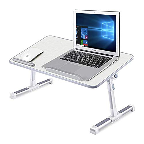 GROSSē Height and Angle Adjustable Laptop Bed Table Stand Tray Lapdesk Laptop Desk for Bed, Laptop Bed Tray Table, Foldable Laptop Stand Working for Writing, Gaming, Drawing(White With Cooling Fan)