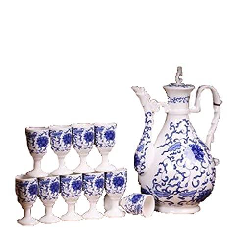 Botellas y juegos de sake Juego de vinos de porcelana azul y blanca Cerámica antigua vintage caja de regalo 1x botella de vino 10x taza