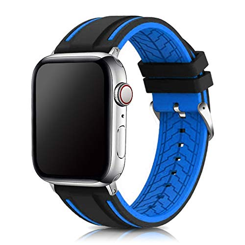 Narako Compatible with Apple Watch Bands 38mm 42mm 40mm 44mm Silicone Divers Model Replacement Rubber Sport Watch Strap for iWatch Series 6/SE/5/4/3/2/1 Bicolor for Men and Women (Blue, 42mm/44mm)