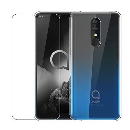 LJSM Hülle für Alcatel 3 2019 Transparent + Panzerglas Displayschutzfolie Schutzfolie - Weich Silikon Schutzhülle Crystal Flexibel TPU Tasche Case für Alcatel 3 2019 (5.94