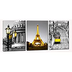 Paris Eiffel Tower Canvas Art Wall Decor - Gray and Yellow Pictures for Living Room - Wall Decorations for Bedroom