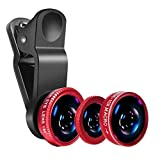 MOBWILL 3in1 Mobile Camera Photo Lens; Fisheye Lens; Wide Angle; Macro Lens with Clip Holder for All...