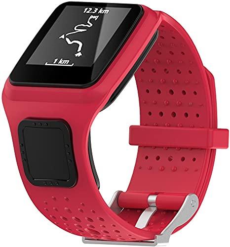 Classicase Correa de Reloj Compatible con Tomtom Multi-Sport/Runner, Silicona Correa Reloj con Acero Inoxidable Hebilla desplegable (Pattern 4)